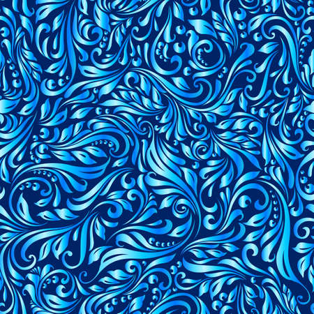 Illustration of seamless abstract blue floral  vine pattern Illustration