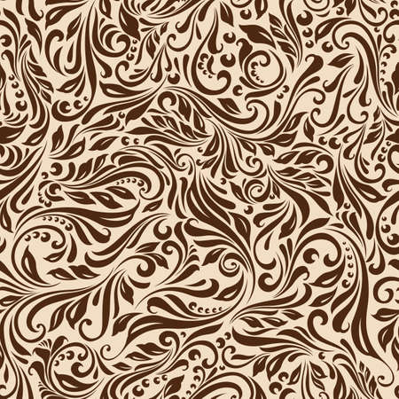 Illustration of seamless abstract beige floral vine pattern