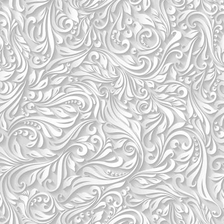 white textured paper: Illustration of seamless abstract white floral and vine pattern