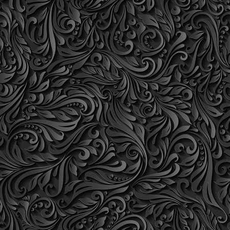 質地: 插圖無縫抽象花卉黑色蔓藤花紋 向量圖像