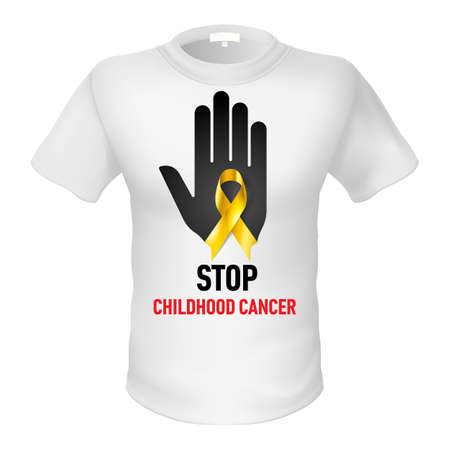 childhood cancer: White t-shirt with sign childhood cancer. Black hand with yellow ribbon Illustration