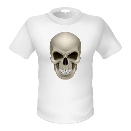 swanky: White T-shirt with a skull isolated on white Illustration