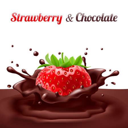 Strawberries dipped in chocolate with splashes. Drop and sweet, food and fresh and liquid Vector