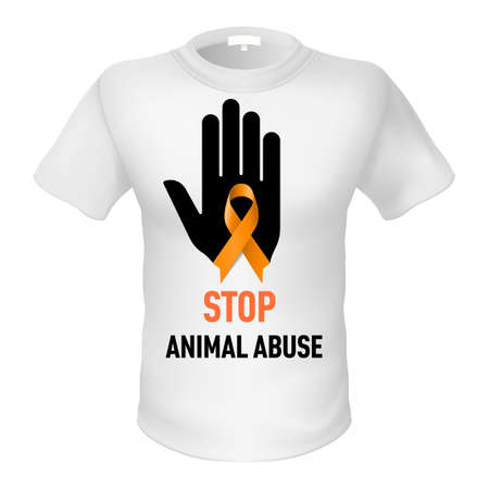 animal abuse: White t-shirt with sign  animal abuse. Black hand with orange ribbon Illustration