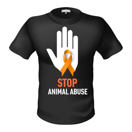 animal abuse: Black t-shirt with sign  animal abuse. White hand with orange ribbon