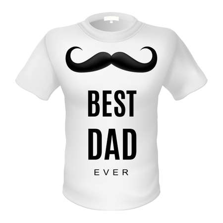 best dad: White t-shirt with sign best dad. Black moustache Illustration