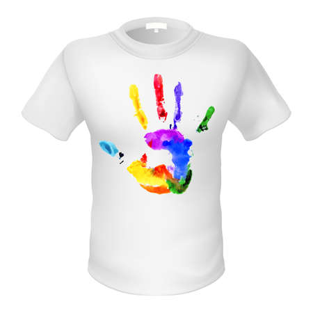 rainbow print: Fashionable whiteT-shirt with a sign. Multicolored silhouette of palm