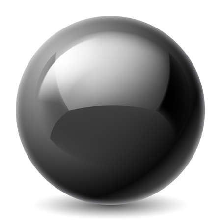 Black metallic sphere isolated on white background Vector