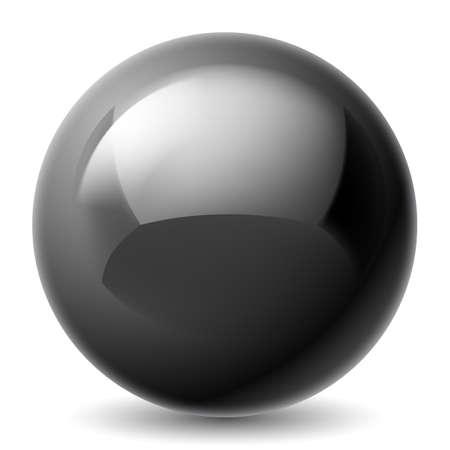 Zwarte metalen bol op een witte achtergrond