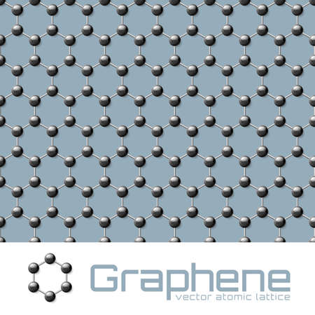atomic: Illustration graphene crystal atomic lattice background or pattern