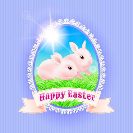 secret love: Greeting Card Happy Easter. Two Rabbits on the green grass Illustration
