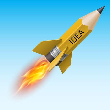 brandweer cartoon: Creatief ontwerp concept met geel potlood als vliegende raket