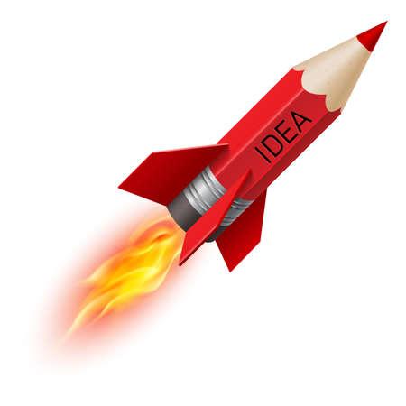 흰색 배경에 로켓 비행으로 빨간색 연필로 크리 에이 티브 디자인 개념