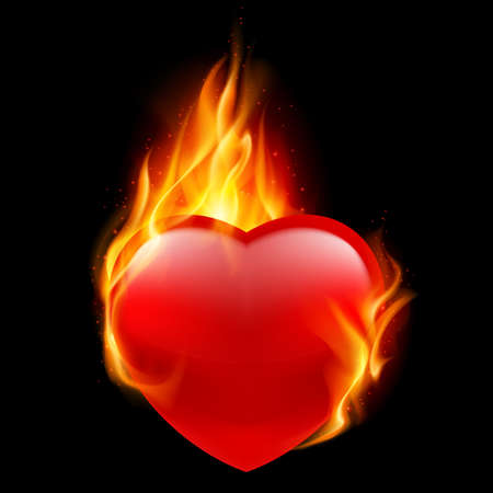hearty: Red heart burning in flames on a black background Illustration