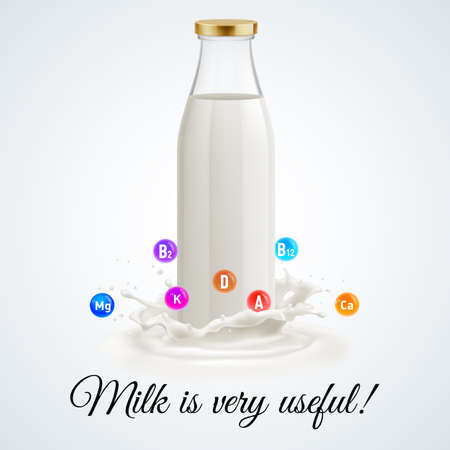 pasteurized: Isolated closed glass bottle of milk. Usefull and vitamins Illustration