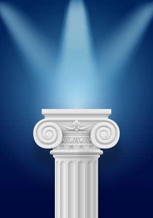White column illumination projectors on darkblue background Vector
