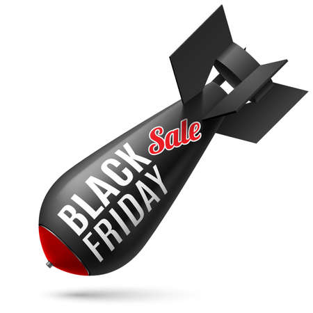vehicle combat: Black Friday. Illustration of black bomb on white Illustration