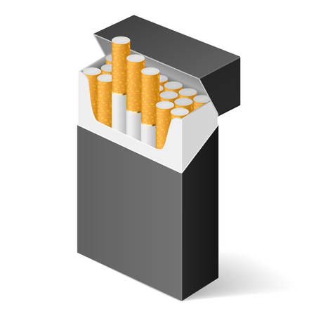 cigarette pack: Black Pack of cigarettes isolated on white background