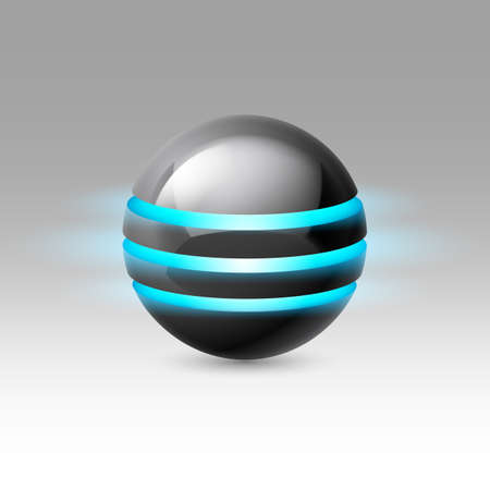 luminescent: Black smooth ball of the future with blue luminescent bands Illustration