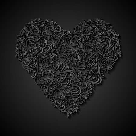 upper case: Decorative heart of the rich ornament in black Illustration