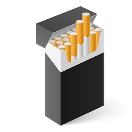 tobacco product: Black Pack of cigarettes isolated on white