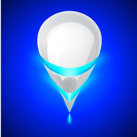 luminescent: White smooth object of the future with blue luminescent bands