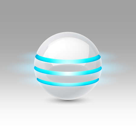 luminescent: White smooth ball of the future with blue luminescent bands