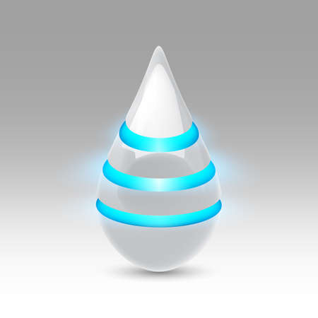 luminescent: White smooth object drop of the future with blue luminescent bands Illustration