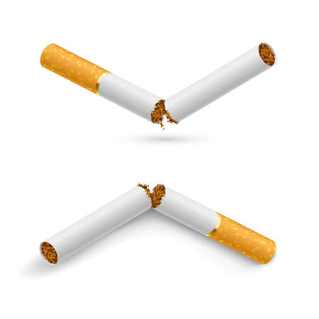 broken: Two white broken cigarette on a white background