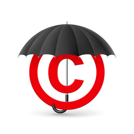 Red icon of copyright under black umbrella