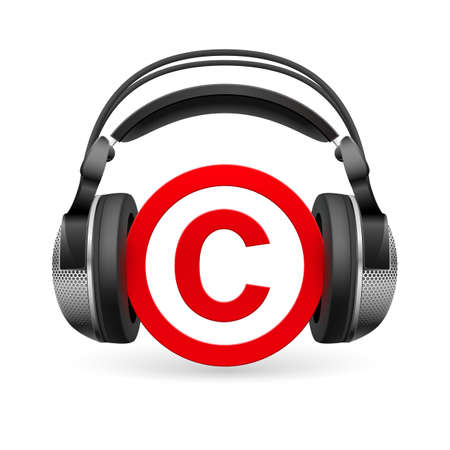 copyright symbol: Red icon of copyright in black headphones Illustration