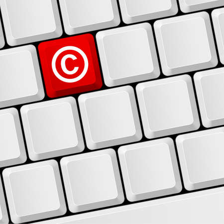 authorship: Keyboard with icon copyright. Legal and license, ownership and patent