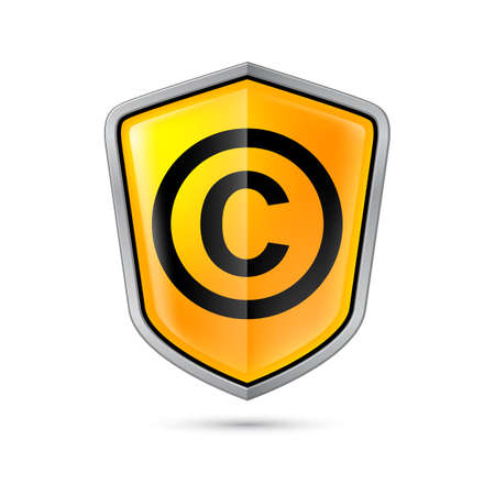 private domain: Yellow shield with copyright sign on a white background Illustration
