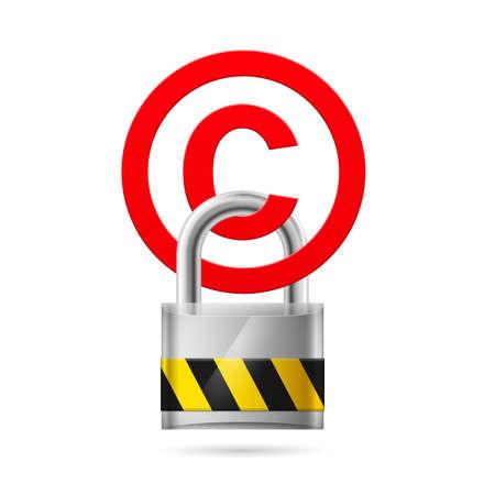 copyright: Padlock hanging on a red copyright symbol