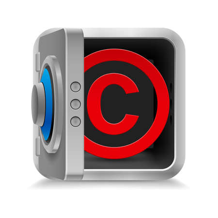 authorship: Red copyright symbol inside the safe  on the white background Illustration