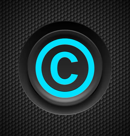 copyright symbol: Blue button copyright symbol on a black textured background