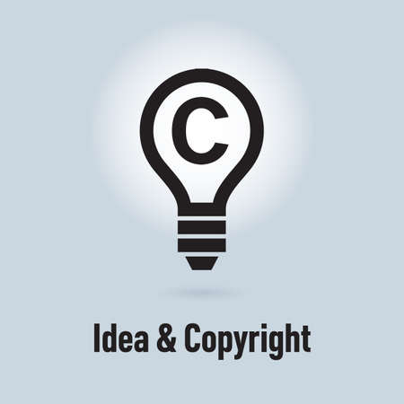 copyrights: Lamp icon, idea and protection of copyrights