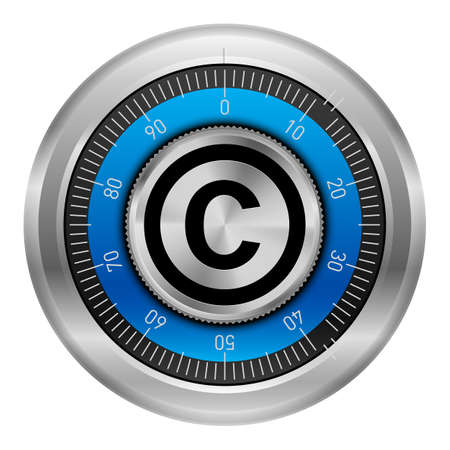 ownership and control: Lock safe with the copyright symbol in the center