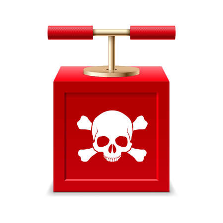detonating: Red detonating fuse with a skull and crossbones Illustration