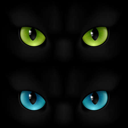 panther: Green and blue cats eyes on a black background