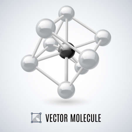 molecular structure: White molecular structure isolated on a gray background Illustration