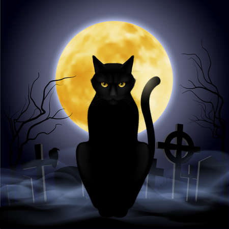 Black cat sitting on a background of the full moon in the cemetery Ilustração