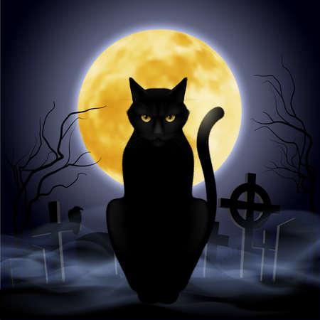 Zwarte kat, zittend op een achtergrond van de volle maan op de begraafplaats