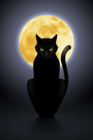 watchful: Black cat sitting on a background of the full moon Illustration