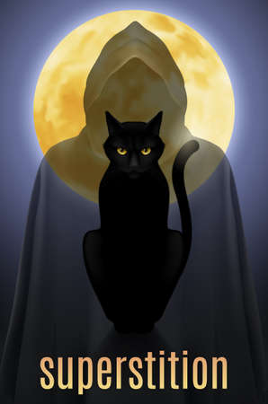 watchful: Black cat sitting on a background of the full moon and the shadow of death Illustration