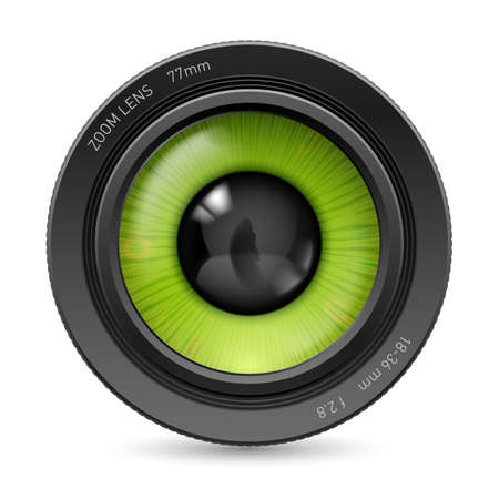 green eyes: Isolated on white camera lens green eyes