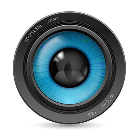 ojo azul: Lente de la c�mara aislada en el fondo blanco. Ilustraci�n ojo azul