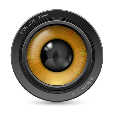 Camera lens isolated on white background. Illustration orange eye