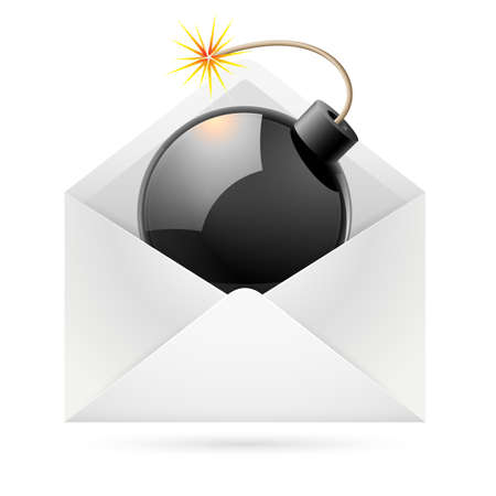 email bomb: Isolated black bomb in a white envelope