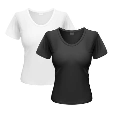 unifrom: Womens black and white T-shirts isolated on white background